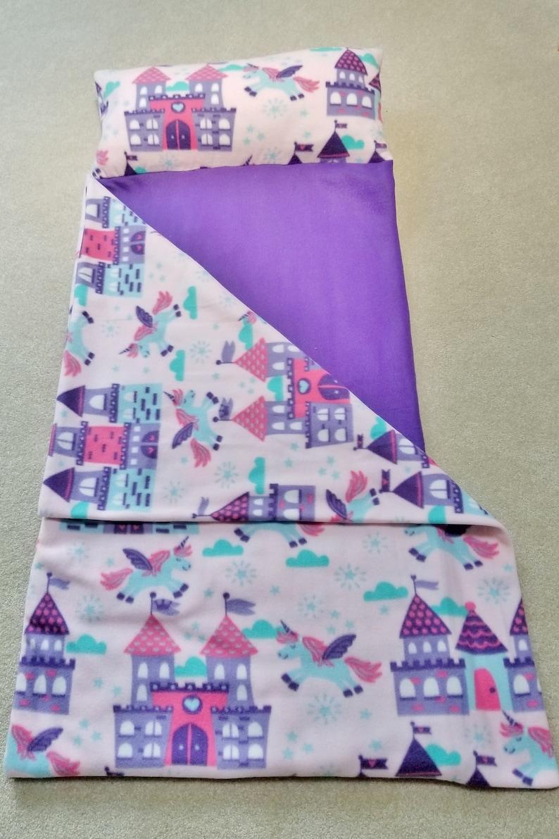 the best attitude 9df6c 942e5 Nap mat with pillow and blanket, Kids Nap Mat, Sleeping Bag, Unicorns nap  mat, Girls nap pad, Castles nap mat, Pink purple nap mat,