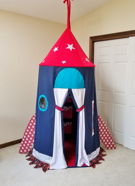 uk availability 54ea5 b0094 Rocket ship tent Spaceship Rocket Kids play tent Childs room decor Starship  Rocket Gift for kids Boys room decor Rocket USA Reading nook