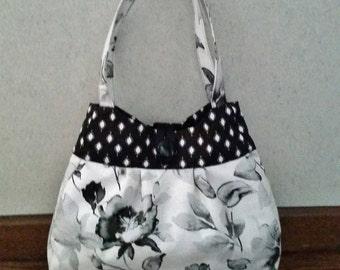 Bags and purses, Fabric handbag, Floral purse, Black and white bag, Shoulder bag, Casual purse, summer purse, everyday purse, Unique purse