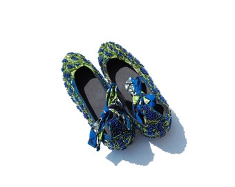 Beautiful Adire HandBeaded Made in Africa Women's Ankle Flats Size 41