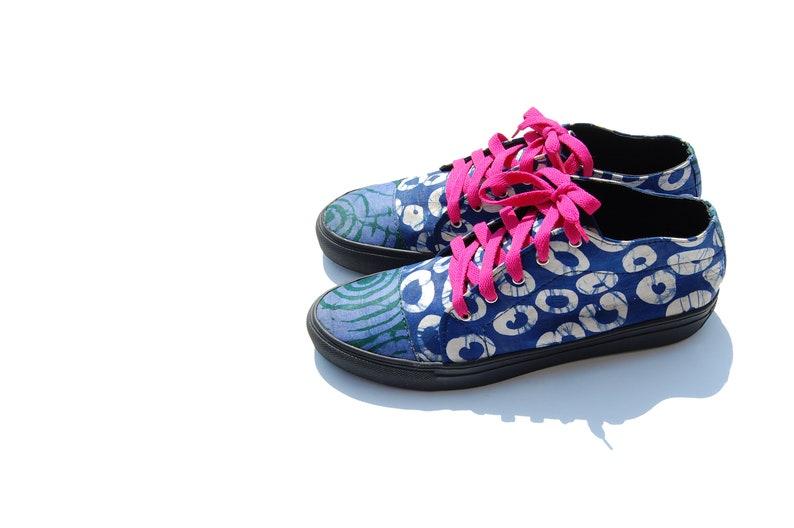 Classic Midi Handmade African Mixed Print Adire Print Women/'s Sneakers