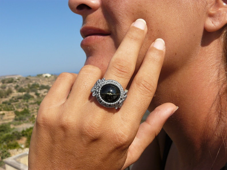 One of a Kind Natural Stone Protection Ring for Women. Black Star Diopside Ring Macrame Jewelry Spiritual Gift for Her