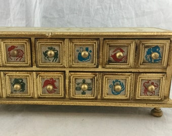 Vintage Distressed Gold Gilt Painted Wood 5 Drawer Trinket Keepsake Jewelry Box Fish Animal Peace Mythology Designs 13x6x5