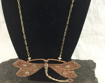 Vintage Painted Copper Bronze Metal Butterfly Pendant Necklace Pink Silver Wings Crystal Accents 18 inch Chain