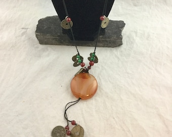 Vintage Long Beaded Pendant Boho Necklace on Twine with Asian I Ching Coins Charms Large Round Orange Pendant 26 inch