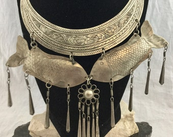 Vintage Ethnic Tribal Silver Tone Metal Statement Bib Choker Necklace Hanging Engraved Fish Fringe Flower Charms