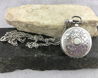 Vintage Ornate SilverPlate Pocket Watch Style Napier Photo Picture Locket on Long Silver Tone Chain