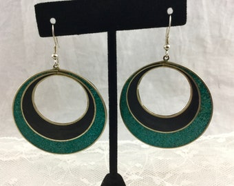 Vintage Alpaca Mexico Silver Enamel Large Round Circle Drop Dangle Earrings Blue Green Turquoise Black Accents