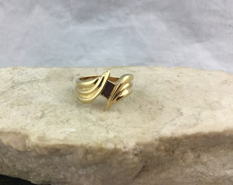 Vintage Gold over 925 Sterling Silver Swirl Double Wave Statement Ring OA Studio Size 7