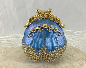 Vintage Rucinni Blue Jeweled Trinket Pill Box with Sparkling Swarovski Crystals Novelty Miniature Purse Shape
