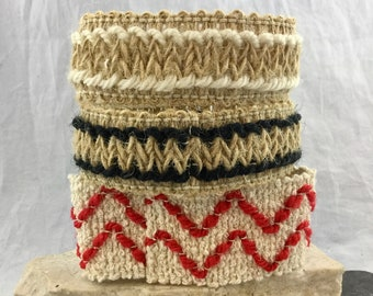 Vintage 80s Street Style Crocheted Woven Wide Unisex Bracelet Stack 3 Stretch Expandable Bracelets Geometric Designs