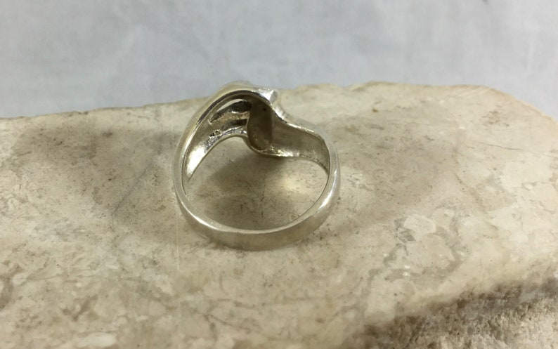 Vintage 925 Sterling Silver Man Woman Unisex Ring Swirl S Wave Shape Cutout Design Size 6.75