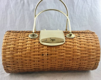 Vintage Midcentury Wicker Barrel Cylinder Shaped Handbag Purse Gold Metal Top Handles Made in Japan