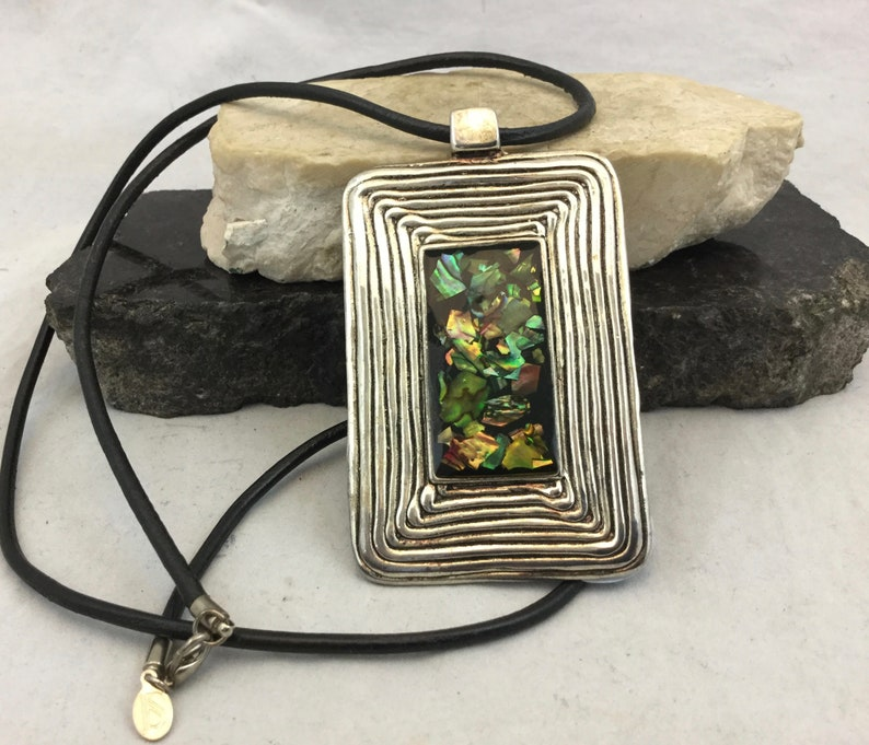 Abalone Square Silver Tone Pendant Necklace for Women with Black Leather Chain
