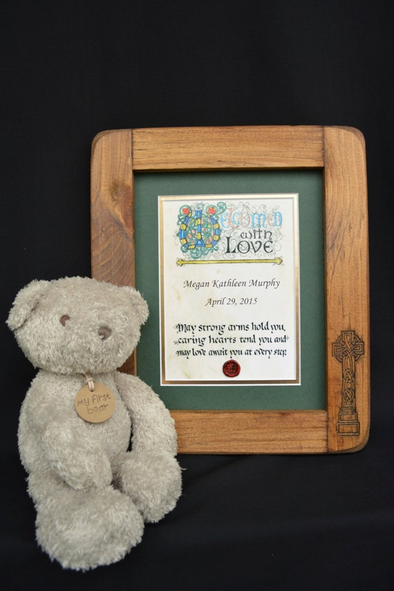 Personalized Irish Baby Blessing- Celtic Cross Rustic Hand Carved Frame
