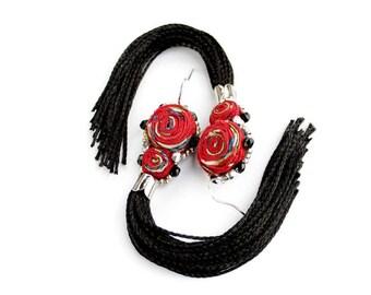 Red black tassel earrings Long fringe earrings Tassel Jewelry Red tassle earrings Long earrings dangle / Custom / Raw