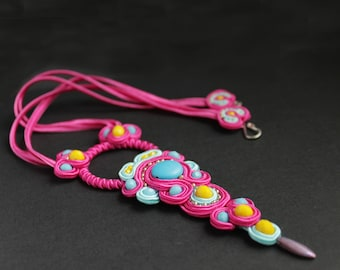 Unique necklace for women / Wearable art jewelry/ Pink necklace statement, Soutache/ Birthday gift for women in 30s
