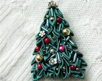 Christmas Brooch. Christmas Jewelry. Christmas Gift Girlfriend. Kanzashi ffcf92cd5faa