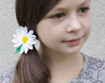 Daisy hair bow School bows Kindergarten hairbow White bows for girl hair bows holidays White hair flower Daisy hair accessories for toddlers