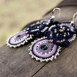 Statement jewelry | Navy blue earrings, Soutache earrings, Blue dangle earrings, Purple earrings Embroidered Violet seed bead earrings, Prom