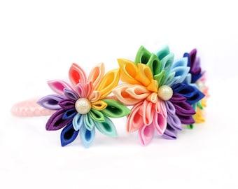 Rainbow flower headband/ Colorful headband/ Gift for kids rainbow