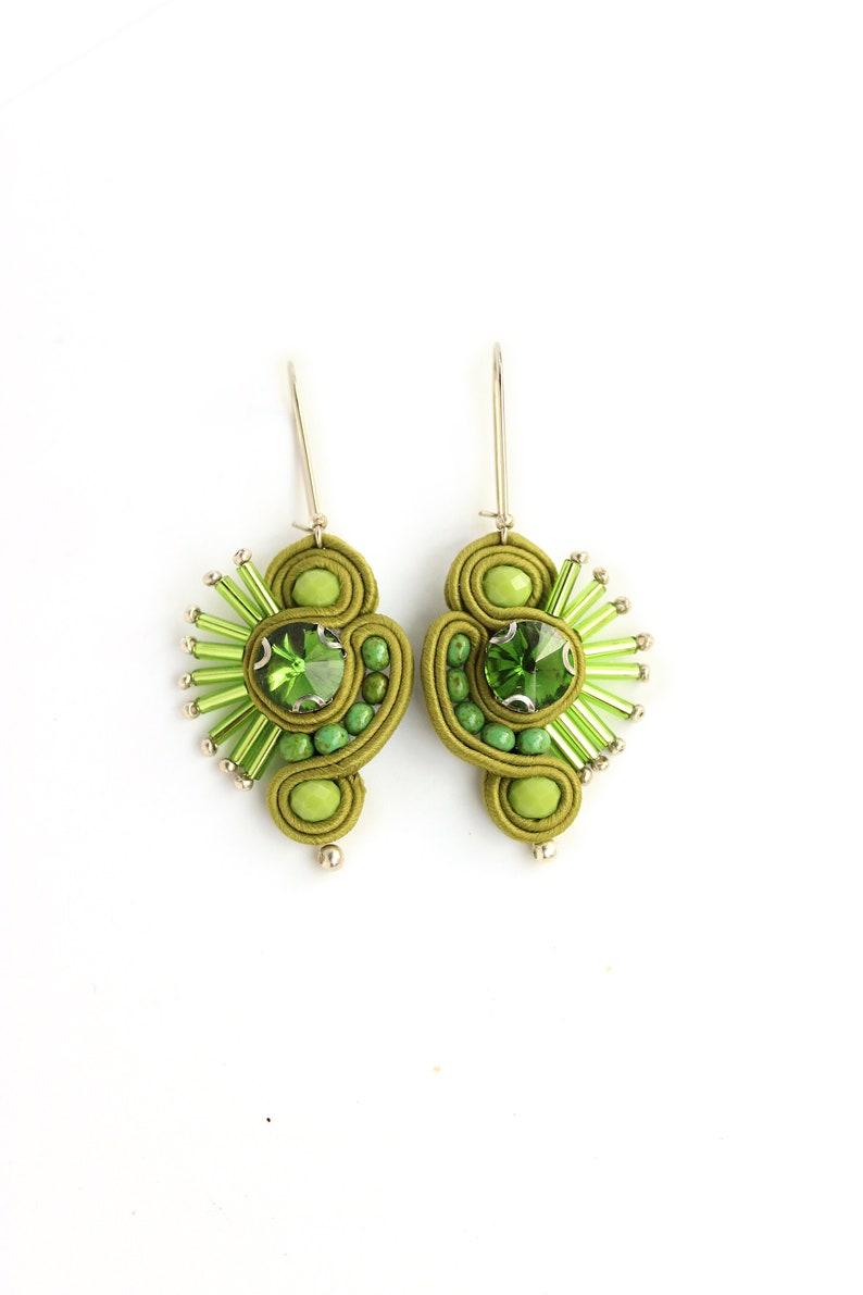 Green earrings dangle long/ Unique Gifts for Women/ rhinestone image 0