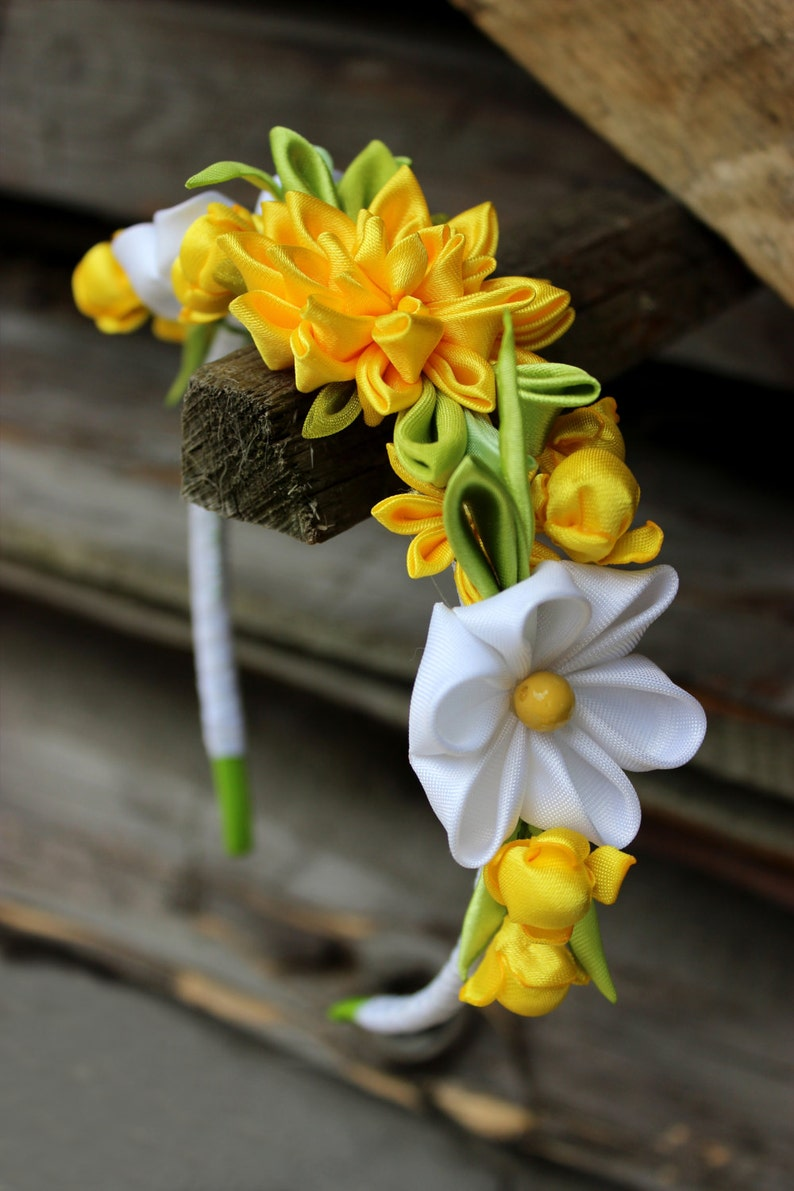 gifts just for her Gift For Teen White Yellow Flower Headband Adult Flowers Headbands Kanzashi Hair Accessory For Baby Girl