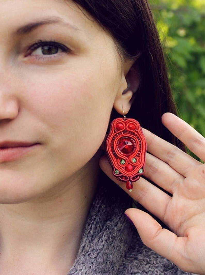 Gift ideas for her Ruby Red Earrings Crystal Earrings Gift image 1