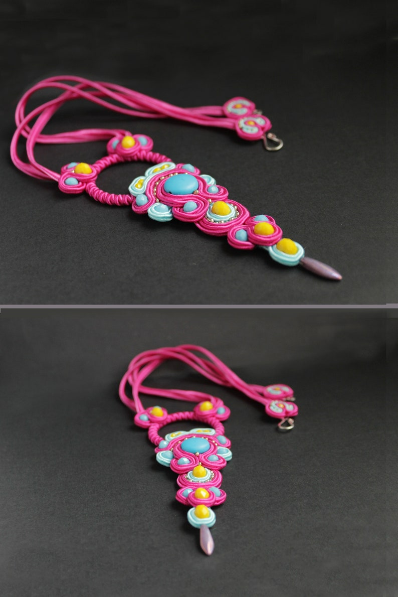 Unique necklace for women / Wearable art jewelry/ Pink image 0