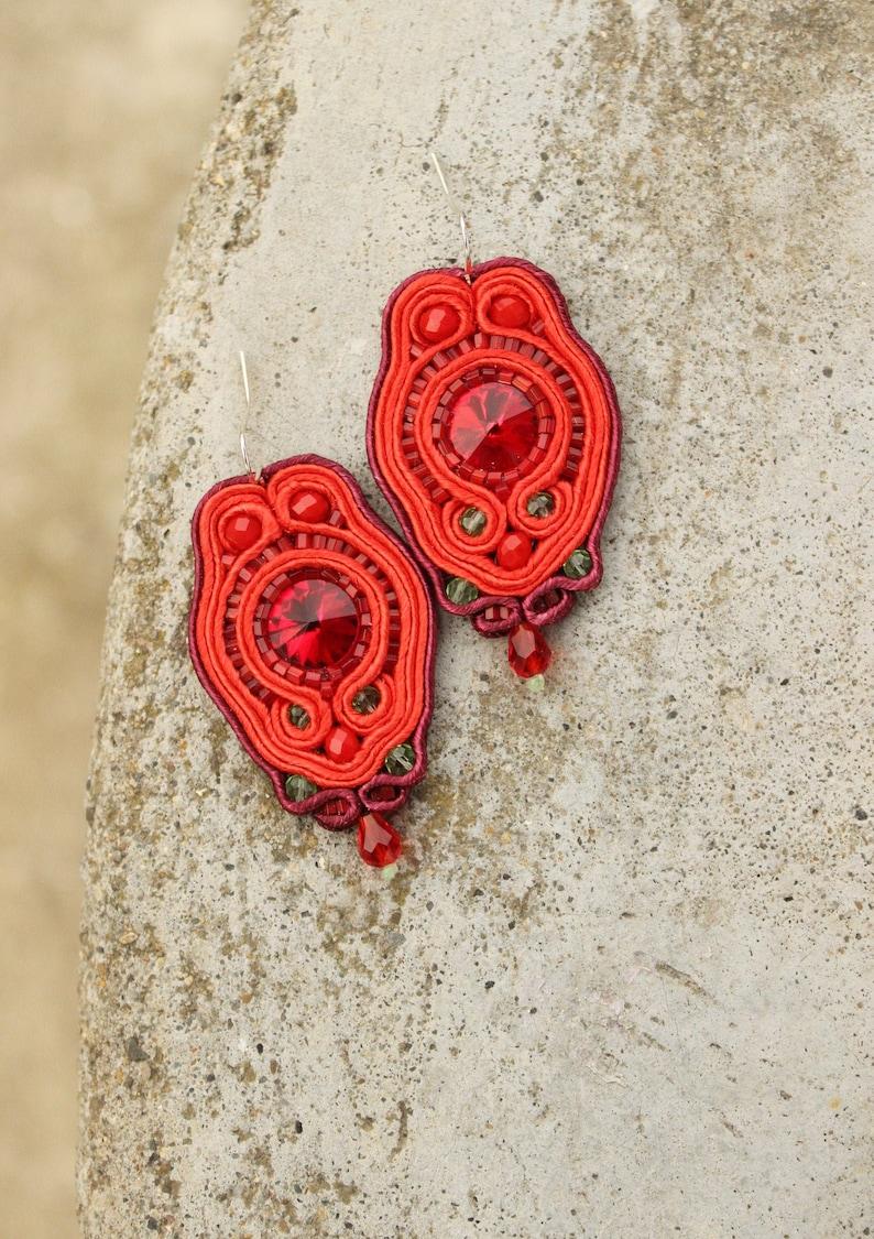 Gift ideas for her Ruby Red Earrings Crystal Earrings Gift image 0