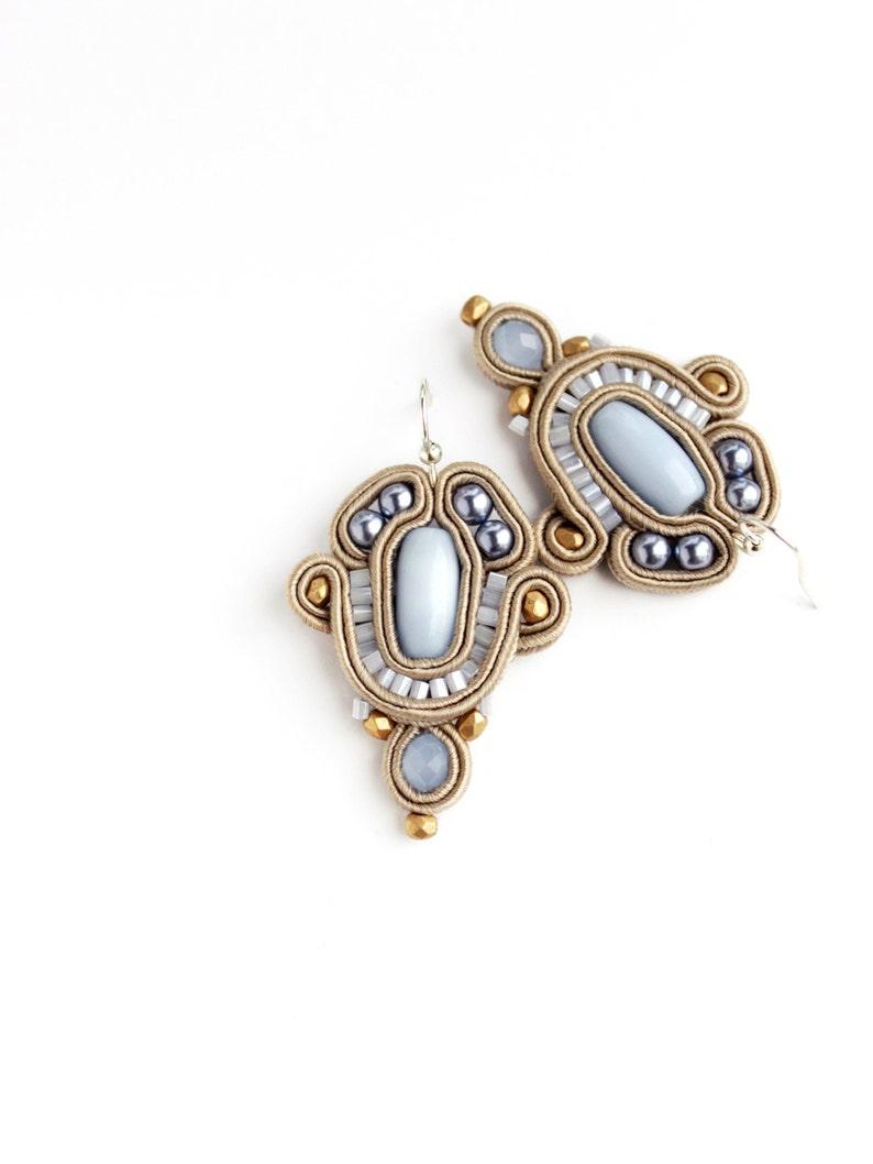Sky blue earrings soutache  Statement earrings jewelry gift image 0