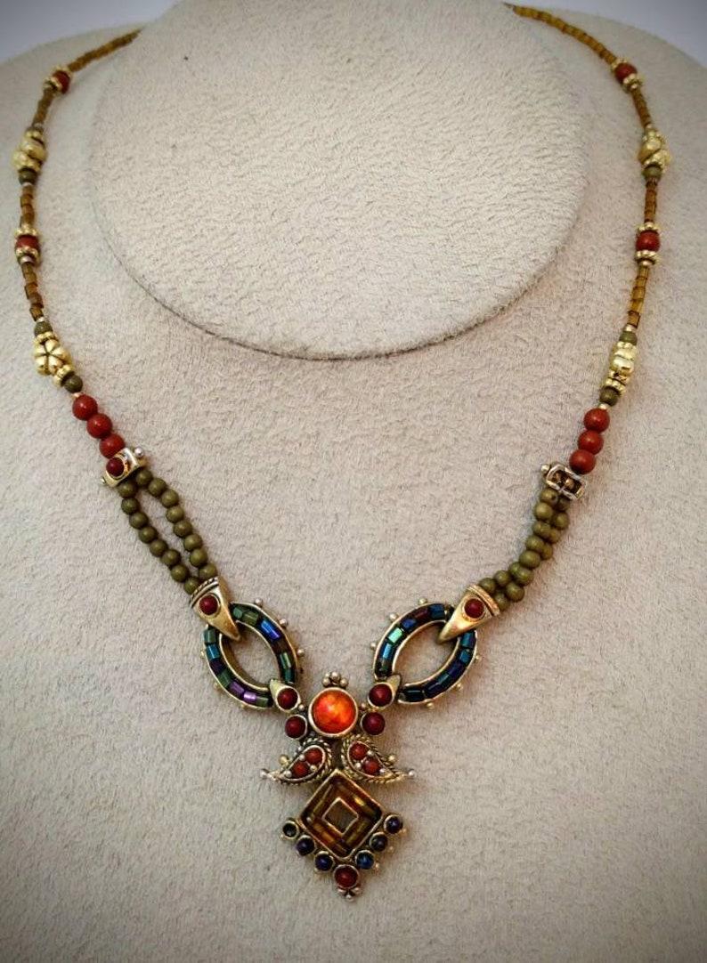 Excellent condition \u00a0 Vintage exotic multicolored necklacechocker