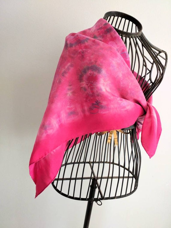 Silk scarf - Pink on Display!! -  big scarf / head