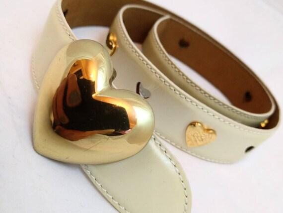 RARE Vintage MOSCHINO Women's belt - Gold Heart Ch