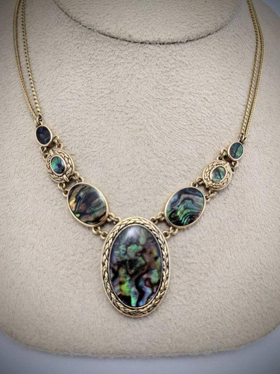 RARE Vintage Monet Abalone Shell Dangle Pendant Necklace Excellent condition\u00a0