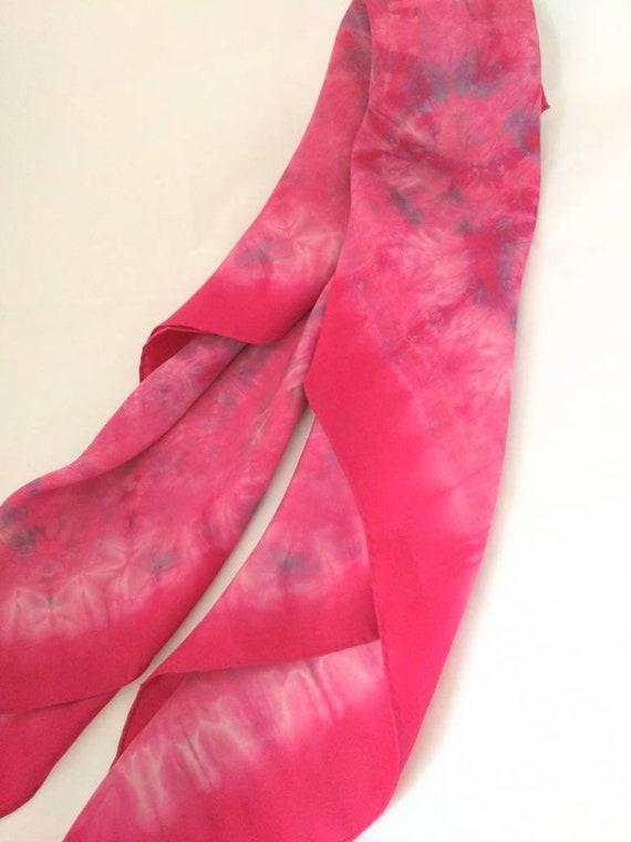Silk scarf - Pink on Display!! -  big scarf / hea… - image 6