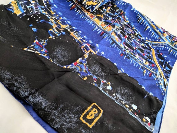 HAND PAINTED scarf - Starry Paris Night -  headsca