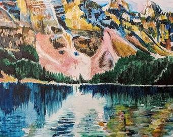 Mountain + Lake Landscape Painting