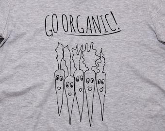 GO ORGANIC! V-Neck T-Shirt Womens Ladies Vegan Organic Carrots Vegetables Hipster