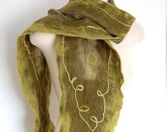 Women's Scarf, Nuno Felted Scarf, Wool Shawl, Wool Scarf, Olive Green Scarf, Unique Handmade Scarf, Silk Scarf, Felt Clothing, Nuno Scarf