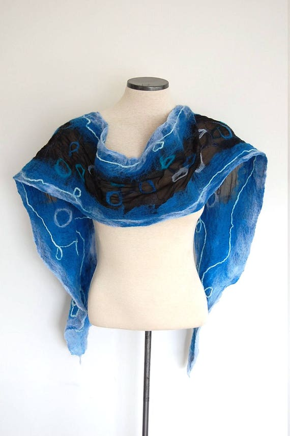 Handmade Felted Scarf 20 inch wide Merino Wool and White Silk Ring Design