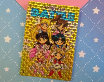 Vintage 1990/'s Pretty Soldier Sailor Moon Double Moon Battle Japanese Trading Vending Prism Shiny Holo Sticker
