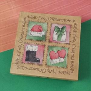 Mostly Clean Vintage Christmas Inkadinkado Stamp Set of 20 Stamps in Original Case