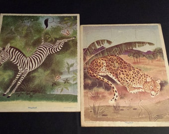 Vintage 1950's Playskool 80-1A & 80-1C Leopard and Zebra Frame-Tray Puzzles, Set