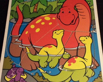 Vintage 1995 Playskool 186-14 Dinosaurs Wooden Frame-Tray Puzzle