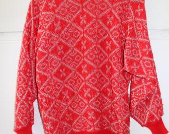 Vintage 1980s Red Sparkly Jumper | Size 8 10 12