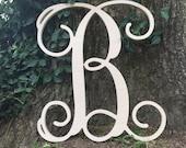 SALE Unfinished Wooden Monogram Letter- Single Vine 12 quot 7.99 1 2 quot Birch not MDF
