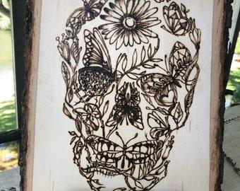 Nature inspired skull wood burned art