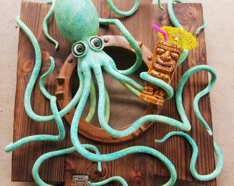 """Octopus Tiki Sculpture """"We're Going to Need a Bigger Boat"""""""