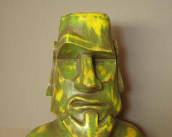 Moai Sculpture, Tiki,  Easter Island  - Polynesian Pop Sculpture, Kitsch, Modern Primitive, Bust